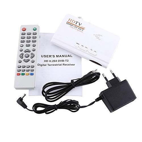 Agatige Receptor Digital terrestre, 1080P HD HDMI DVB-T2 TV Box Sintonizador Receptor Convertidor Control Remoto sin Puerto VGA