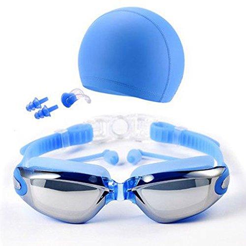 QHYK Gafas de natación, antivaho y Anti protección UV sin Fugas, visión cristalina, con Silicona Swim Cap Clip de Nariz Tapones para los oídos Estuche de Caja Protectora, Nuevo Conjunto de Estilos