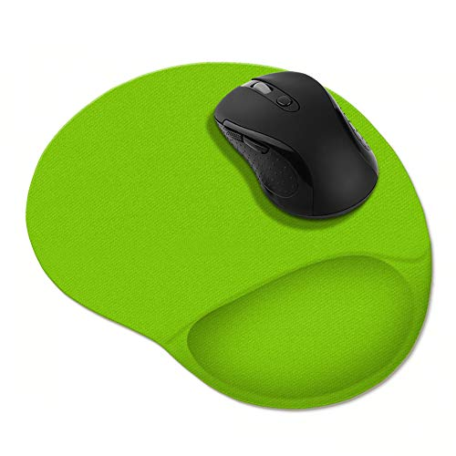 FINCIBO Solid Neon Flourescent Green Comfortable Wrist Support Mouse Pad for Home and Office