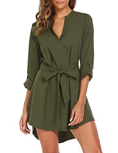 SE MIU Damen Langarm V-Ausschnitt Casual Boyfriend Tunika T-Shirt Bluse Kleid mit Gürtel - - XX-Large