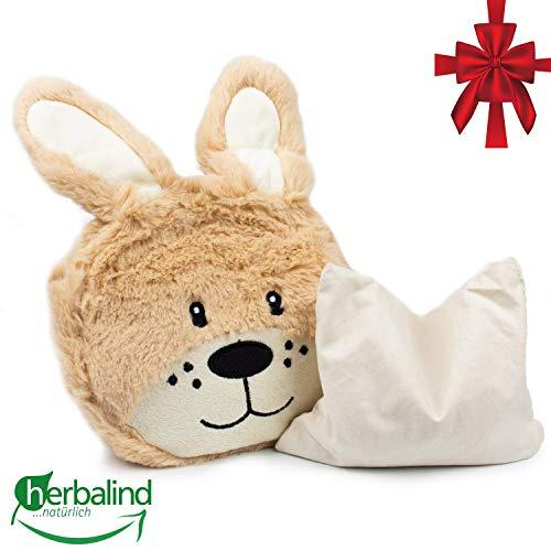 Kuscheltier Hase Wärmekissen niedliches Rapssamenkissen für Baby und Kleinkind und Kinder, Maße 20x20x4 cm als Wärmeflasche, Stofftier, warmes Körnerkissen, Plüschtier Design Hase