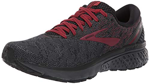 Brooks Mens Ghost 11 Running Shoe - Black/White/Merlot - D - 8.0