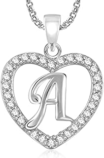 Valentine Gifts MEENAZ Silver Plated 'A' Letter Pendants Alphabet Pendant with Chain for Men.