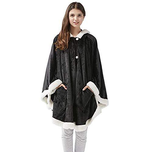 LckyGirls Women Winter Warm Buttondown Plush Hooded Throw Wrap Wearable Blanket Cover Coat
