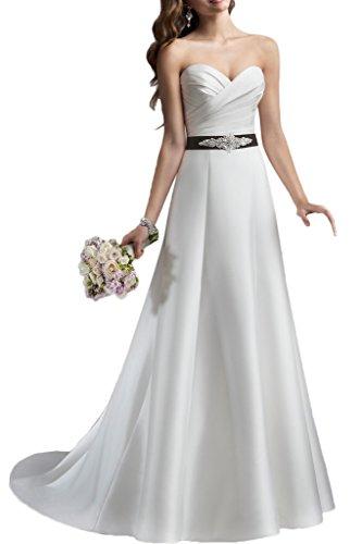 Romantische Braut Einfach A -Linie Herz-Ausschnitt Schleppe Satin Hochzeitskleid Brautkleid mit Perlen verziert Schleife -52 Weiss