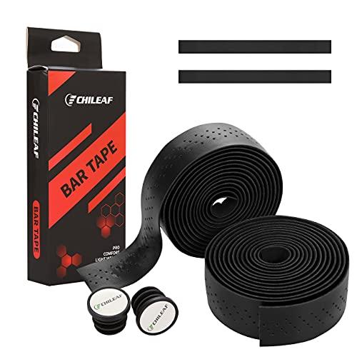 Cinta de manillar de bicicletas de 2 rollos, cinta de barra de bicicleta de 210 cm con extremos (Black)