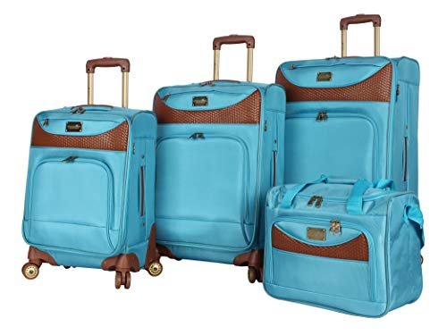 Caribbean Joe Luggage Castaway 4-Piece Spinner Suitcase Set (Light Blue)