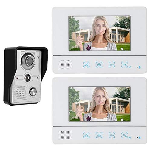 Videocitofono 7 pollici LCD Video Door Phone,Campanello per videocitofono cablato,Campanello video impermeabile,2x Monitor Touch Screen con,per la sicurezza domestica(European regulations)