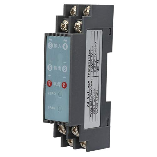 DC 24V Acondicionador de señal, P2 1 In 1 Out Transmisor aislador de señal de voltaje AC-DC, Transmisor de aislamiento de señal de voltaje AC(AC 0-100V to DC4-20mA))