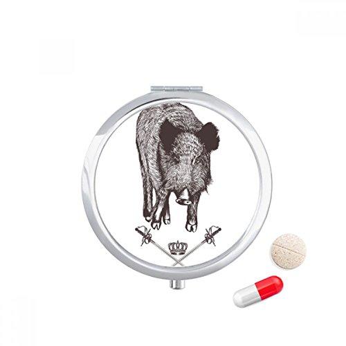 DIYthinker Zwaard Kroon Dier Barok Stijl Reizen Pocket Pill case Medicine Drug Opbergdoos Dispenser Spiegel Gift