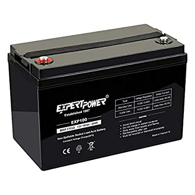ExpertPower 12V 100Ah Solar Wind Power AGM Sealed Lead Acid Deep Cycle Battery