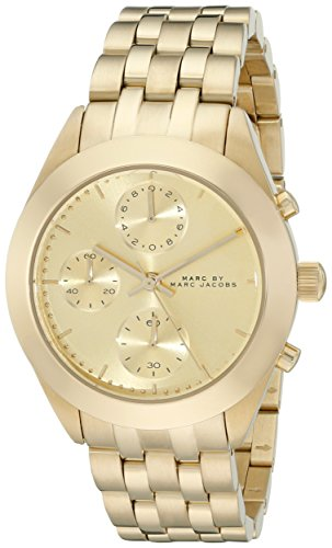 "MARC JACOBS DAMEN 36MM CHRONOGRAPH GOLD Ã‹DELSTAHL ARMBAND & GEHÃ""USE UHR MBM3393"