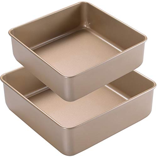 Joho Baking Nonstick Square Cake Pan, Baking Pan Set,Deep Dish Bakeware Sheet for Oven,2-Piece, 8x8in, 9x9in,Gold