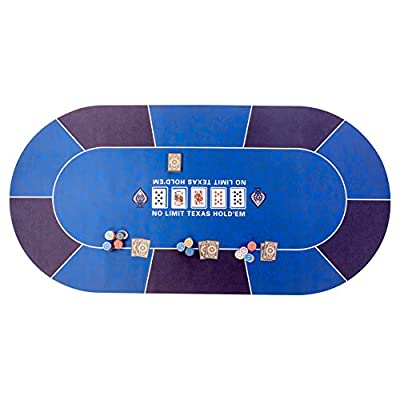 """GAMELAND 70"""" x 35"""" Portable Poker Mat Game Mat Rubber Foam Poker Table Top Layout for Up to 10 Players to Play Cards with Carrying Bag"""