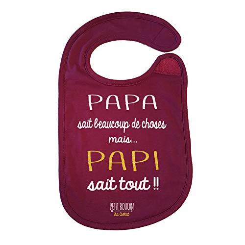 Petit Boucan'Papa sait beaucoup de choses' - bavoir bébé fille -100% coton doux - doublé en éponge coton très absorbant en Bordeaux