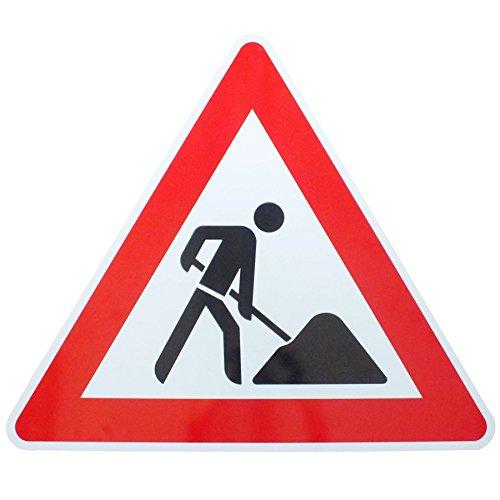 ORIGINAL Verkehrsschild ACHTUNG BAUSTELLE Nr. 123 Verkehrszeichen 900 mm Schilder RAL Baustellenmann Warnschild Verkehrsschilder Schaufelmannschild Schild