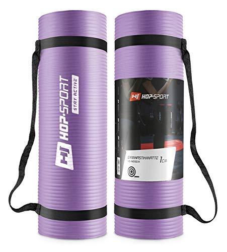 Hop-Sport Gymnastikmatte NBR180x61x1,5cm oder 180x61x1cm Hautfreundliche Fitnessmatte + Tragegurt (1cm lila)