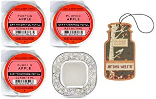 Bath and Body Works Pearls & Gems Visor Clip Car Fragrance Holder and 3 Scentportable Pumpkin Apple. Paperboard Car Fragrance Autumn Wreath.