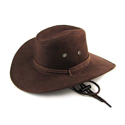 Mangotree Unisex Breiter Rand Cowboyhüte Klassischer Kavallerie Hut Australien Hut Wetter Hut Herren Leder Hüte für Outdoor