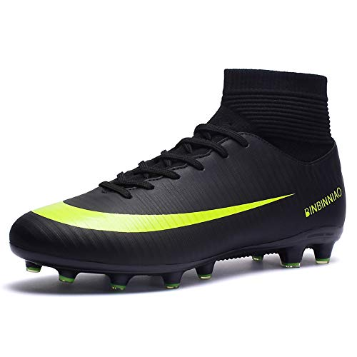 CR Indoor Soccer Shoes for Boys - High Top Ankle Boots - Strong Elastic Collar AG Ground - TF Soccer Shoes Turf Black Big Size 10.5 for Men