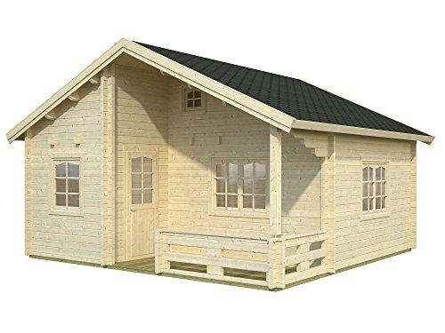 *Palmako Blockbohlenhaus Emily 40,1+5,2 70 mm natur mit Schlaf-/Stauboden*
