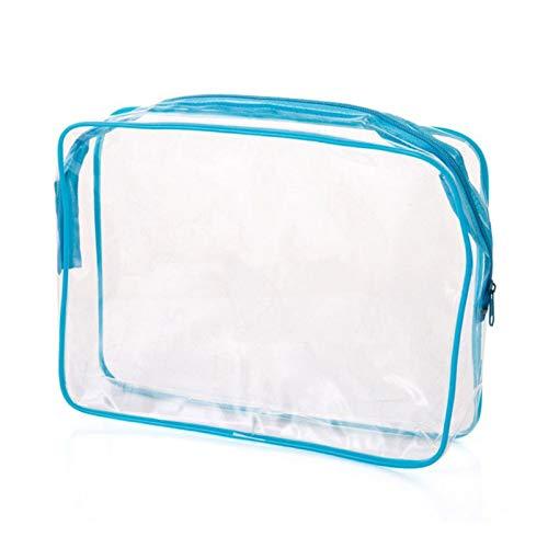 1 unid Viaje con Cremallera con Cremallera Clear Aeropuerto Transparente Líquido Cosmetic Bolsa Kit UG Viajes Lavado Bolsa Oxford Bolsa de Texto Portátil (Color : Azul, Talla : Large)