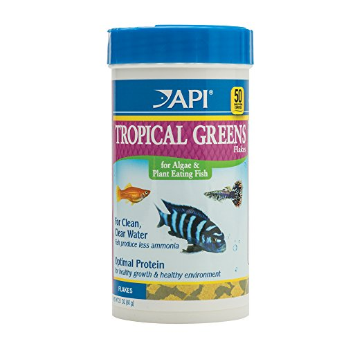 API TROPICAL GREENS FLAKES Tropical Fish Greens Flakes Fish Food 2.1-Ounce Container
