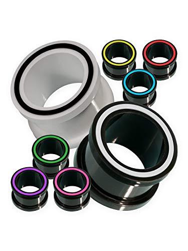 Fly Style Flesh-Tunnel flexibel Silikon Ohr Plug weich Hollow Eye in 8 Farben, Grösse:12 mm, Farbwahl:blau