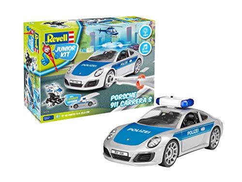 """Revell 818 Porsche 911"""" Polizei 4 Junior Kit robust zum Basteln und Spielen im Maßstab 1:20 Level 1Modellbausatz für Kinder zum Schrauben 00818, bunt, Länge ca. 23,8 cm"""