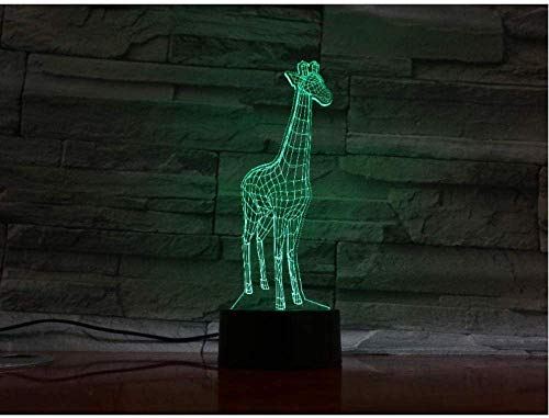 Dibujos animados jirafa, panel acrílico 3D, lámpara de lava con 7 cambios de color, luz nocturna LED para dormitorio, lámpara de mesa, ambiente de luces 3D
