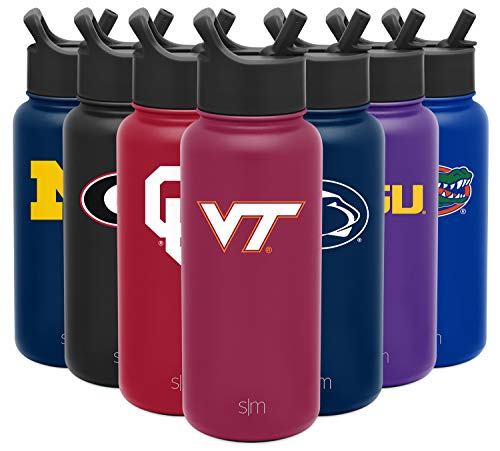 Simple Modern NCAA Virginia Tech Hokies 32oz Water Bottle with Straw Lid Insulated Stainless Steel Summit