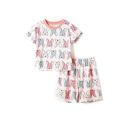 Pijama para Niña Conjunto 2 Piezas Manga Corta para Verano Ropa para Casa de Niña Estampado Conejo/Unicornio 1-8 Años (Conejo, 7-8 Años)