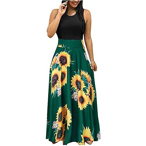 FMYONF Damesjurk, elegante lange zomerjurk, bloemenprint, avondjurken, damesjurken in oversized, lange rok met korte mouwen, retrojurken uit de jaren 50, groen, L