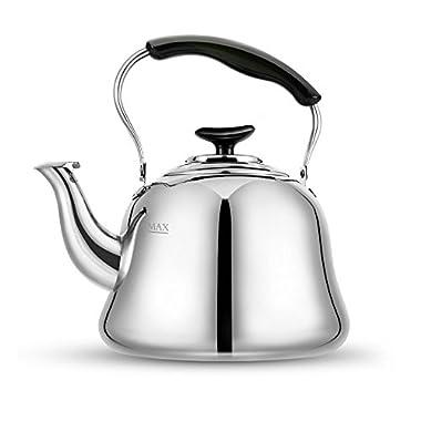Tea Kettle Stovetop Kettles Teapot Stainless Steel-Mirror Finsh,Bakelite Handle,Fast To Boil, 2 Quart