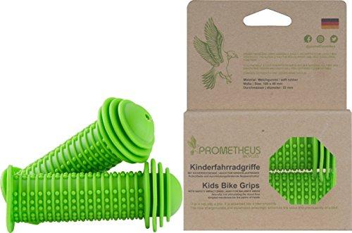 Prometheus Kinderfahrradgriffe in Grün mit Sicherheits - Prallschutz auch für Laufrad Roller - 22 mm Lenkergriffe Edition 2019