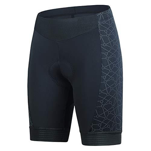 BEROY Pantalones de ciclismo para mujer, acolchados, de secado rápido, pantalones cortos transpirables, pantalones de ciclismo para mujer con almohadilla de gel 3D A04/Negro+Costuras Estampadas XXL
