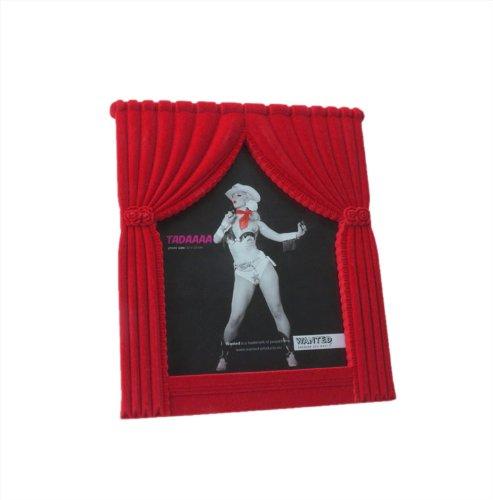 Trendfinding Tadaaaa Foto Bilder Karten Bilderrahmen Show Vorhang auf Bühne frei Hochformat 20 cm x 25 cm rot beflockt mit Aufsteller