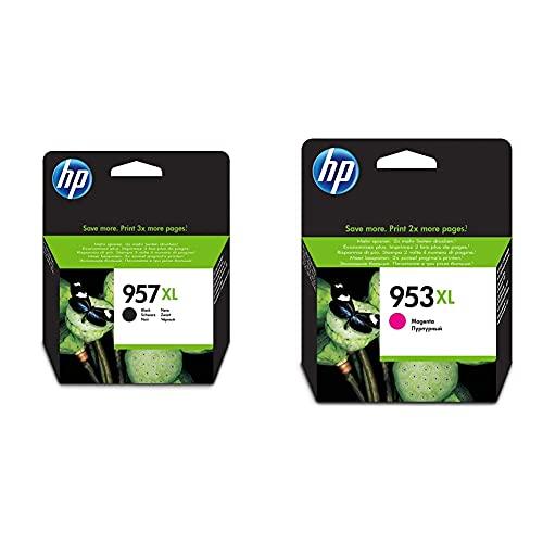 HP 957XL L0R40AE Negro, Cartucho de Alta Capacidad Original, de 3.000 páginas, para impresoras + 953XL F6U17AE, Magenta, Cartucho de Tinta de Alta Capacidad Original