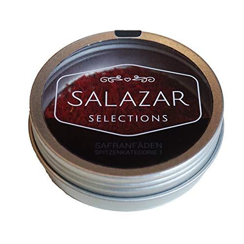 Salazar Safran 2g | 100{745d5d79ba2dc7f3546805eaf5efe6e1256c5c243698e1a0e86b44efaa9b4b04} reine Safranfäden in Premium-Qualität (2 Gramm) | Safran in Fäden verpackt in der schicken Dose