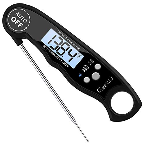 Keelsio Digital Meat Thermometer, Super-Fast Read, Backlight and Calibration Functions. Food Thermometer for Kitchen and Home. BBQ Meat Thermometer. Bath Water Thermometer.