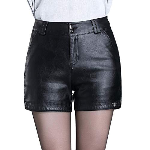 Valin VF520 Damen Große Größe Hohe Taille Kunstleder Shorts Leder Kurze Hose,Schwarz,3XL