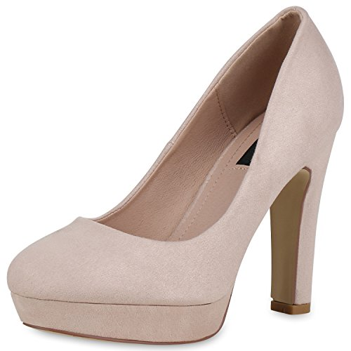 SCARPE VITA Damen Plateau Pumps Party High Heels Wildleder-Optik Abendschuhe 162785 Creme Velours 39