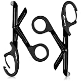 GAINWELL 5.9-Inch Medical Scissors with Carabiner, Stainless Steel Coated Non-Stick Blade Trauma Shears - 2 Pack