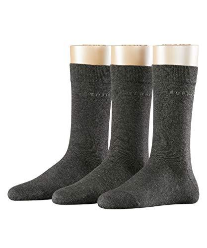 ESPRIT Damen Socken Uni - 80% Baumwolle , 3 Paar, Grau (Anthracite Melange 3080), Größe: 36-41