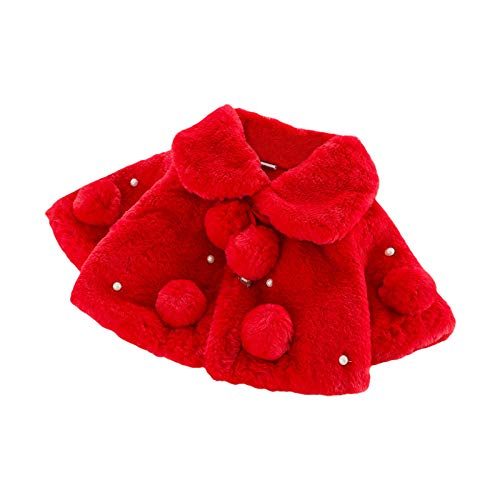 Carolilly - Abrigo para bebé o niña de piel sintética Rojo estilo 2 0-6 Meses