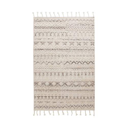 Brilliant firm Teppiche Teppich handgefertigt Wollteppich dreidimensionale Muster Nordic minimalistischen Bodenmatte Plain Sofa Wohnzimmer Decke (Color : Gray, Size : 90 * 150cm)