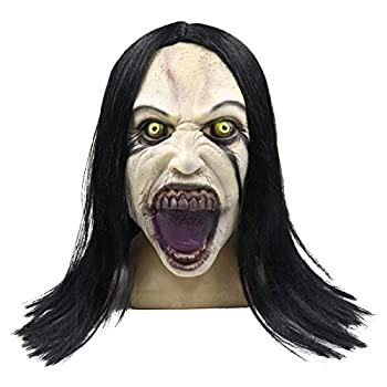 Cafele La Llorona Mask Horror Scary Zombie Grimace Ghost Mask with Hair for Halloween Party  La Llorona Mask