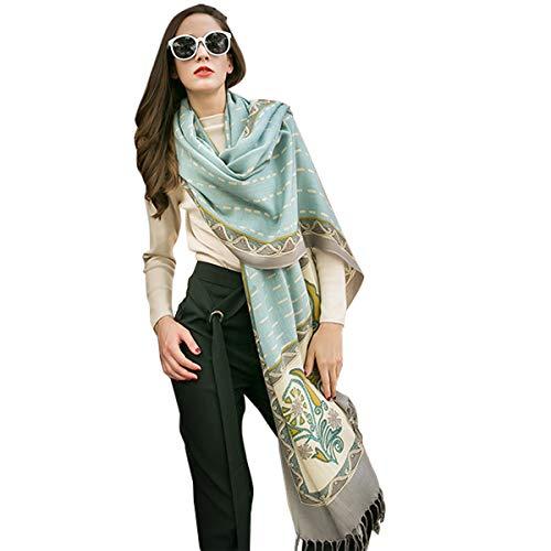 DANA XU 100% Pure Wool Women Scarf Large Size Pashmina (Blue)