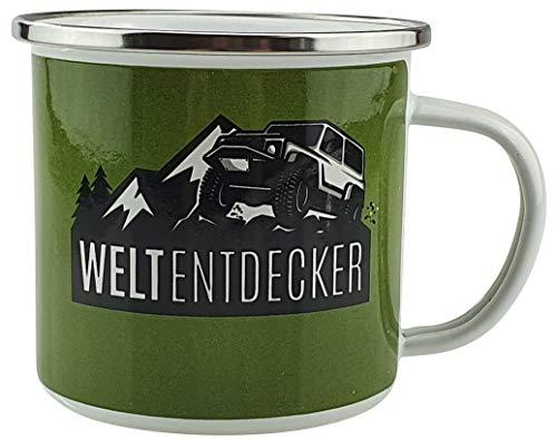 Bambelaa! Taza esmaltada con texto en alemán 'Lustig Camping Outdoor vajilla, diseño taza de café, grande, aprox. 300 ml, borde de acero inoxidable