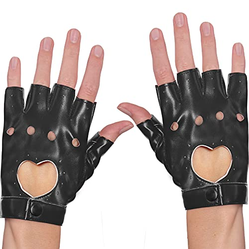 Skeleteen Fingerless Biker Jazz Gloves - 80s Style Gothic Black Faux Leather Punk Biker Gloves with Heart Cutout for Women and Kids
